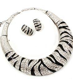 zebra print crystal studded necklace set | Jewelry4theheart - Jewelry on ArtFire