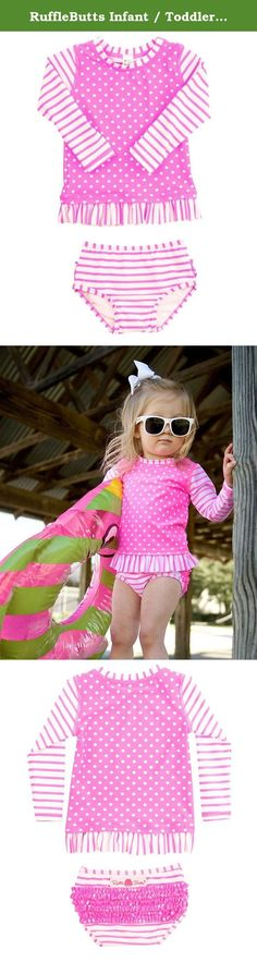 50d068a844d81 RuffleButts Infant / Toddler Girls Hot Pink Striped Polka LS Rash Guard  Bikini - Pink -