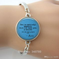 Wholesale Handcrafted Bangles - Buy You're Entirely Bonkers Handcrafted Round Charm Bangles Alice in Wonderland Mad Hatter March Hare Mad Te...