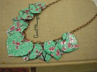 Upcycled necklace made from green tea aluminum can.