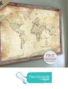 PERSONALIZED Push Pin world Map, Old World Charm, 24X36 Inches, Vacation Art, Keepsake gift, Push Pin Travel, Gift for grandparents, Geneology maps, Gift for Grand dad from World Wanderer Studio http://www.amazon.com/dp/B01EGSVIHA/ref=hnd_sw_r_pi_dp_vablxb1C6P9G2 #handmadeatamazon