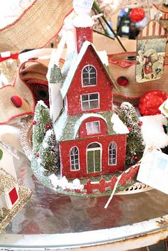 Red & green Putz house#Frontgate, #Holidaydecor