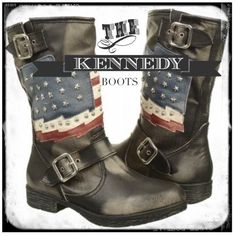 """White Mountain """"Kennedy"""" Boot - Vintage Black Show off your real stripes with Kennedy by White Mountain. This vintage style combat boot is in need of a pair of cut off shorts or leggings for an edgy, comfortable style. Gently worn, no flaws or visible wear. Distressed faux leather upper. Stitched american flag with round and star studs. Ankle strap with buckle detailing, adjustable for wider fit. 9 1/2"""" shaft, pull on. 1 1/2"""" block heel. White Mountain Shoes"""
