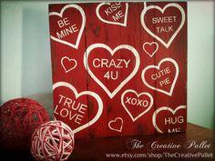 Valentine's Day Sign Conversation Hearts Red & White Vintage Pallet Wood Decor