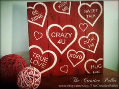 Valentine's Day Sign Conversation Hearts Red & White Vintage Pallet Wood Decor