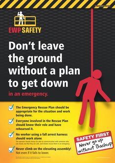 """Working on an Elevating Work Platform (EWP) is high risk because it involves many hazards, not just height. It is crucial then that a rescue plan needs to be in place and practiced to cover all possible incidents. This workplace health & safety poster is aimed at reminding workers that they shouldn't operate an EWP unless there is a suitable plan to rescue them in case of any emergency. Available as A3 and A2 size (Aust/NZ) and 18""""x24"""" (USA) Past Exam Papers, Past Exams, Health And Safety Poster, Safety Posters, Workplace Safety Topics, Safety Cartoon, Safety Slogans, Basic Life Support, Construction Safety"""