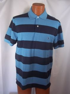 Tommy Hilfiger Mens Medium Polo Shirt Blue Striped 100% Cotton NWT #TommyHilfiger #PoloRugby