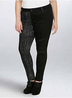 d5b1b7d2d2e7d Celebrate Halloween Town with these two-tone skinny twill pants. One leg is  classic