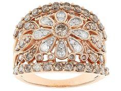 2.00ctw Round Champagne And White Diamond 10k Rose Gold Ring | JTV