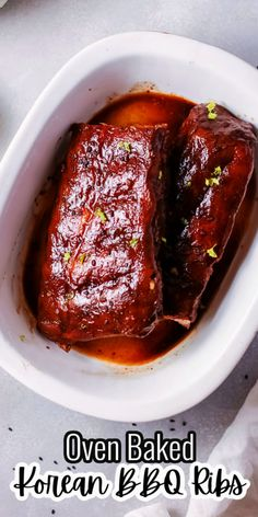 These Korean BBQ Ribs are easily made in your oven with a tangy stovetop marinade. Juisy and delicious and perfect for a dinner idea any day of the week.