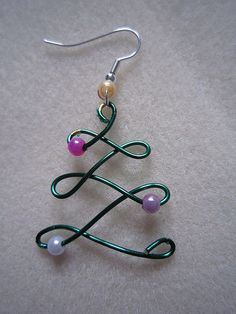 beaded necklaces and 26 gauge wire | wire christmas tree earring or pendant beaded jewelry making beaded ...