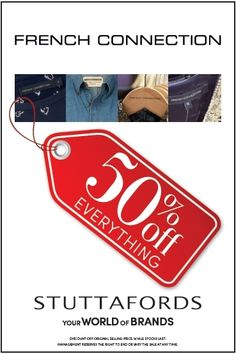 We're giving you 50% off everything @FCUK - all SA @Stuttafords_za stores except Cresta. And go!