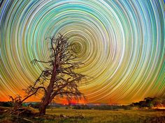 ``At first glance these spectacular swirls of colour may look like clever computer graphics or faulty camera work.  They are, in fact, the product of hour after hour of painstaking night-time shooting by photographer Lincoln Harrison.  His stunning pictures of star trails across the Australian night sky were taken over periods of up to 15 hours.