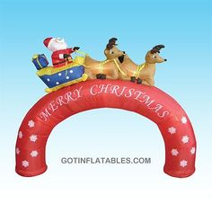 8 Foot Long Inflatable Arch with Santa Claus in Sleigh w/ Reindeer Christmas Yard Art, Outdoor Christmas Decorations, Halloween Christmas, All Things Christmas, Christmas Lights, Christmas Holidays, Christmas Ornaments, Christmas Spectacular