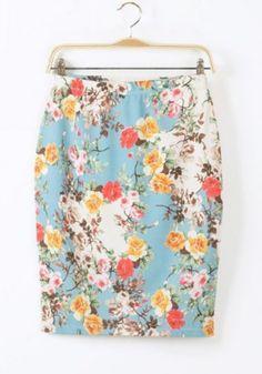 Multicolor Flowers Print Knee Length Cotton Blend Skirt