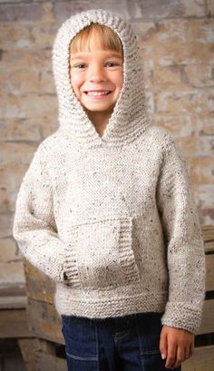 Knitting pattern for Jumping Bean Hoodie Pullover Sweater - This pullover features an oversized hood, front pockets and sizes Child's 2 (4, 6, 8) years. Annie's affiliate link