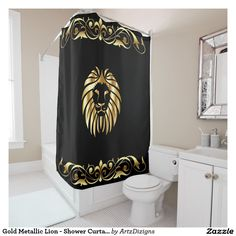Gold Metallic Lion - Shower Curtain  http://www.zazzle.com/artzdizigns&rf=238365382999242687