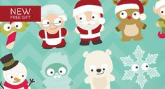 CHRISTMAS CUTIES SVG COLLECTION is 16 super adorable characters to spice up any project!  Add them to a card, a gift bag or box, so easy!