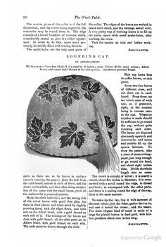 """""""Lounging cap in application,"""" The Ladies' Companion & Monthly Magazine, 1852"""