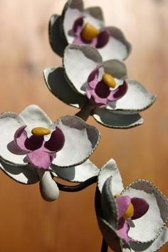 leather-crafted orchids