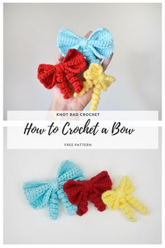 Free Crochet pattern for the sweetest little bows that you've ever seen! Add… Free Crochet pattern for the sweetest little bows that you've ever seen! Add them to finished projects or use them as an adorable hair accessory! Crochet Hair Bows, Crochet Puff Flower, Crochet Hair Accessories, Crochet Flower Patterns, Crochet Motif, Crochet Flowers, Free Crochet, Knitting Patterns, Crochet Bows Free Pattern