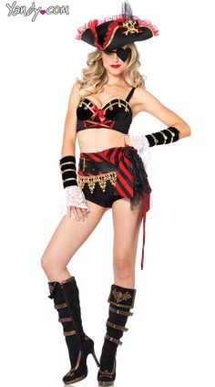 Sexy High Waisted Pirate Costume, Skimpy Pirate Costume, Darling Swashbuckler Costume