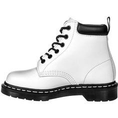 Dr Martens 939 Boots (White/Black) (1660 MAD) ❤ liked on Polyvore featuring shoes, boots, black white boots, dr. martens, dr martens footwear, dr martens boots and black white shoes
