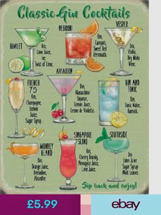 Cocktail Sign Classic Gin Cocktails Metal W+ Gin Recipes, Gin Cocktail Recipes, Alcohol Drink Recipes, Cocktail Drinks, Sidecar Cocktail, Alcohol Shots, Paloma Cocktail, Alcohol Bar, Tequila Drinks