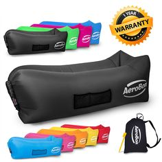 AeroBon PREMIUM - Gets Inflated and Holds Air 40% Better Than Analogues Thanks to the Single Inlet - No Film Inside- Inflatable Lounge Bag with Carry Bag Ideal for Indoor or Outdoor - 1 YEAR WARRANTY * This is an Amazon Affiliate link. Click image to review more details.