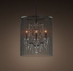 ball chain and crystal chandelier from restoration hardware