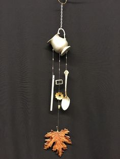 Vintage Pewter Silverplate Wind Chime w Upcycled Beads Leaf Windchime | eBay
