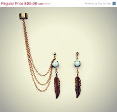 lilac feather ear cuff and earrings, chains ear cuff, feather earrings, tribal earrings, vintage stlye