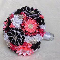 Bridal bouquet handmade color black white pink by DeShiko on Etsy Ribbon Bouquet, Brooch Bouquets, Bride Bouquets, Black White Pink, Color Black, Budget Wedding, Wedding Ideas, Ribbon Diy, Handmade Flowers