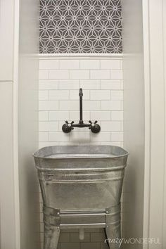 galvanized wash tub laundry room sink