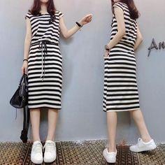 European station 2017 summer new Korean women's short-sleeved long loose loose striped dress casual skirt
