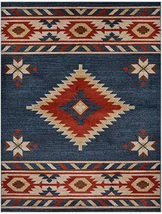 Nevita Collection Southwestern Native American Design Area Rug Rugs Geometric (Teal Blue, 5 x 7) RugStylesOnline