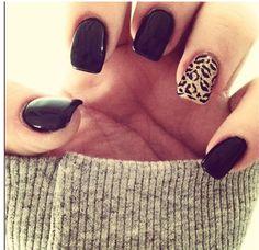 Black and cheetah print nails