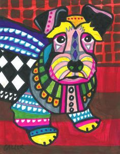 Off - Cesky Terrier Art Shower Curtain, Dog Shower Curtains, Bathroom Decor, Kid or Adult themed Classroom Art Projects, Pop Art Posters, Dog Paintings, Tile Art, Zentangle, Art Lessons, Art For Kids, Illustration Art, Picasso