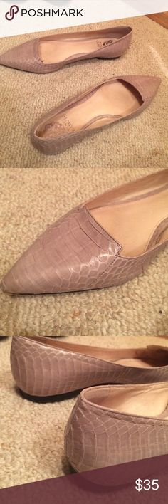 Vince Camuto Python pointed toe flats Mushroom color per manufacturer listing. Purchased from Nordstrom. Peyton embossed leather with texture Shoes Flats & Loafers