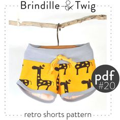 Baby sewing pattern pdf retro shorts, sizes... 0-3M to 2-3T  Easy photo tutorial -Pattern 20