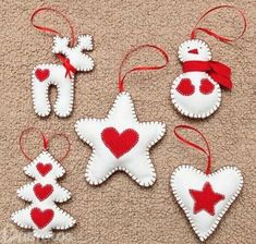 Craft: Christmas Figurines - Home Easy Christmas Decorations, Felt Decorations, Felt Christmas Ornaments, Christmas Fun, Ornaments Ideas, Christmas Figurines, Christmas Projects, Holiday Crafts, Christmas Sewing