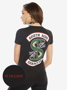 """Snakes don't shed their skins so easily.""     A  Riverdale  T-shirt that reminds everyone who you ride with. The Southside Serpents are the most dangerous motorcycle gang in town, but with this biker logo T-shirt (and hopefully Jughead) by your side, you'll be okay.     Only available at Hot Topic!        100% cotton  Wash cold; dry low  Imported  Listed in junior sizes"