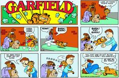 Obsessed with food, (especially lasagna) hates Monday's, loves to sleep, all describe the fat and lazy cat we know and love. The lovable orange-ball was created by Cartoonist Jim Davis in Chronicling the life of the title character, Gar Garfield And Odie, Garfield Comics, Lazy Cat, Classic Comics, Comic Strips, Childhood Memories, Illustrators, Jokes, Chistes
