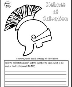 Helmet Of Salvation From The Armor God Coloring Page And Verse Copy Work