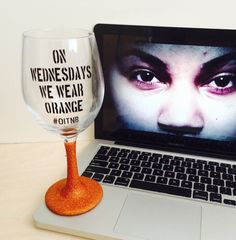 On Wednesdays We Wear Orange - Orange is the New Black Inspired // Glitter Dipped Wine Glass by GivingGlitterCo on Etsy https://www.etsy.com/listing/242213549/on-wednesdays-we-wear-orange-orange-is