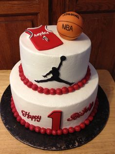Happy 1st Birthday Michael Jordan Jersey, Basketball And Jumpman Logo Birthday Cake
