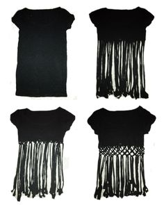 T-Shirt DIY! crop top string weave bottom