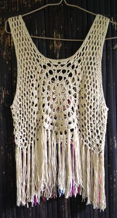 Handmade Crochet Fringed Boho Top with Vintage Mirror by SpellMaya                                                                                                                                                      Mais