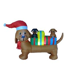 Love this 4' Christmas Dog Inflatable Light-Up Lawn Decoration by BZB Goods on #zulily! #zulilyfinds