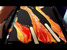 Bacon / Negative space pouring on canvas black and red - YouTube